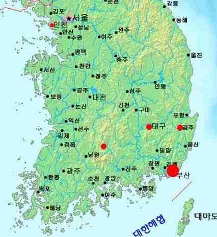 Reported sightings of Jangsan-beom (map)